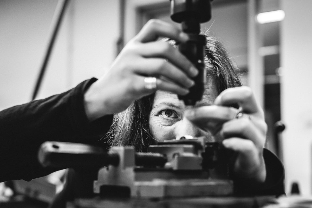 personal branding photo professional brand images jewellery designer goldsmith at work close-up hands bespoke silver jewellery black-white image