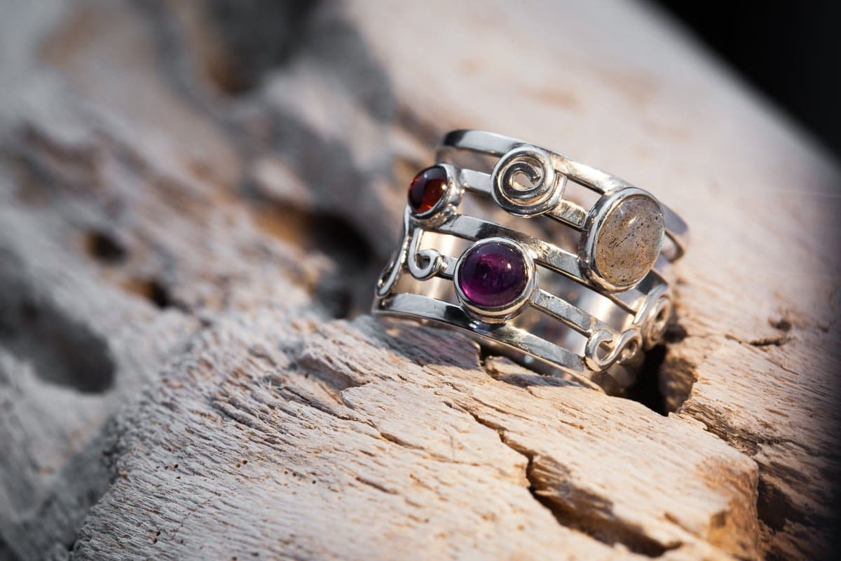 silver handmade ring with precious gemstones personal branding photo product photography surrey jewellery designer goldsmith bespoke handmade silver jewellery